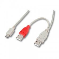 Adaptateur Doubleur 2 x USB type A M vers mini USB type B M - 1 m