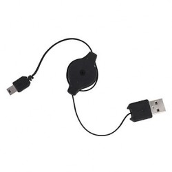 Enrouleur USB 2.0 type A M / MiniUSB B M - 0,9 m