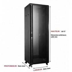 UPTEC - Baie 19'' 22U noire 600 x 600 (charge 800 Kg)