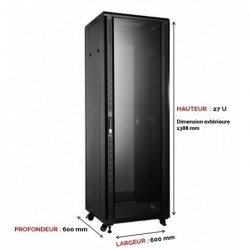 UPTEC - Baie 19'' 27U noire 600 x 600 (charge 800 Kg)
