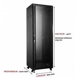 UPTEC - Baie 19'' 42U noire 600 x 1000 (charge 800 Kg) - EN KIT
