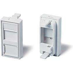 Plastron 22.5x45 RJ45 Nu pour 1 embase RJ45, blanc - pour embase FTP