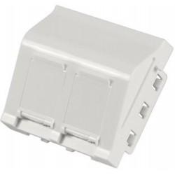 Plastron 45x45 RJ45 Nu incliné 2 embases RJ45, blanc pour embase FTP