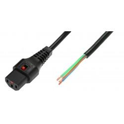 IEC Lock - Cordon secteur C13 / Dénudé - 2m Noir
