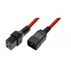 IEC Lock - Rallonge secteur C19/C20 - 3m Rouge