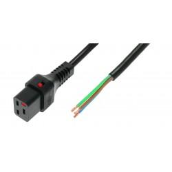 IEC Lock - Cordon secteur C19 / Dénudé - 3m Noir