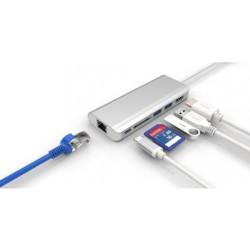 Adapt Combo USB-C M vers 2xUSB3.0 A F+HDMI F+RJ45+Slot carte SD -0.2m