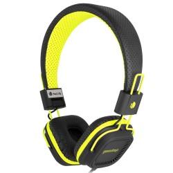 """Casque audio """"fluo"""" avec micro. Noir et jaune - NGS"""