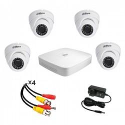 KIT DAHUA HDCVI 720P 4 caméras 1MP + enregistreur + alim + 4 câbles