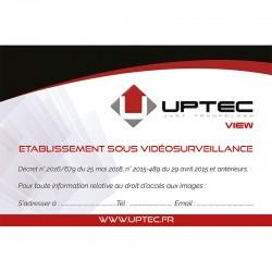 UPTEC VIEW - Sticker vidéosurveillance 150x100mm