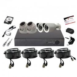 UPTEC VIEW-Pack 5in1 DVR4CH,HDD1T,câbles, alims,2minidômes2bullet 5MP
