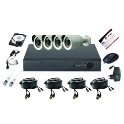 UPTEC VIEW-Pack 5in1 DVR4CH, HDD1T,câbles, alims, 4 bullets 3.6mm 5MP