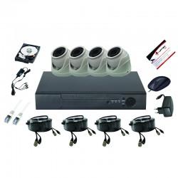 UPTEC VIEW-Pack 5in1 DVR4CH,HDD1T,câbles, alims,4 extra minidômes 5MP