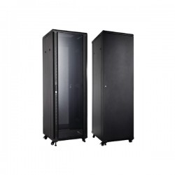 UPTEC - Baie 12U 600x600 Porte AV vitrée, porte AR pleine - 800kg