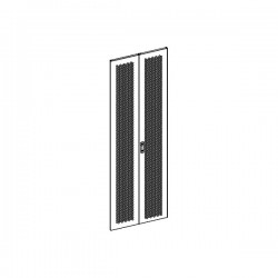 UPTEC - Porte double perforée avec serrure pour baie 42U largeur 800