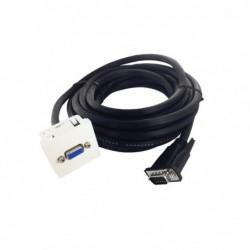 Plastron 45x45 HD15 F vers câble HD15 M - AWG28 - 10 m