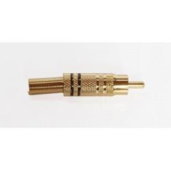 Connecteur RCA Mâle métallique à contact doré noir